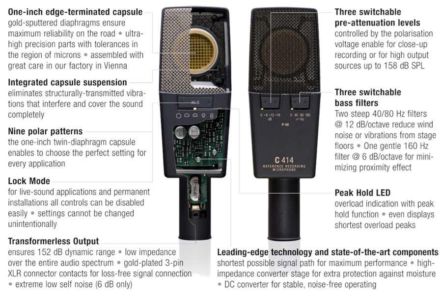 akg pro audio c414 xlii vocal condenser microphone multipattern musical instruments. Black Bedroom Furniture Sets. Home Design Ideas