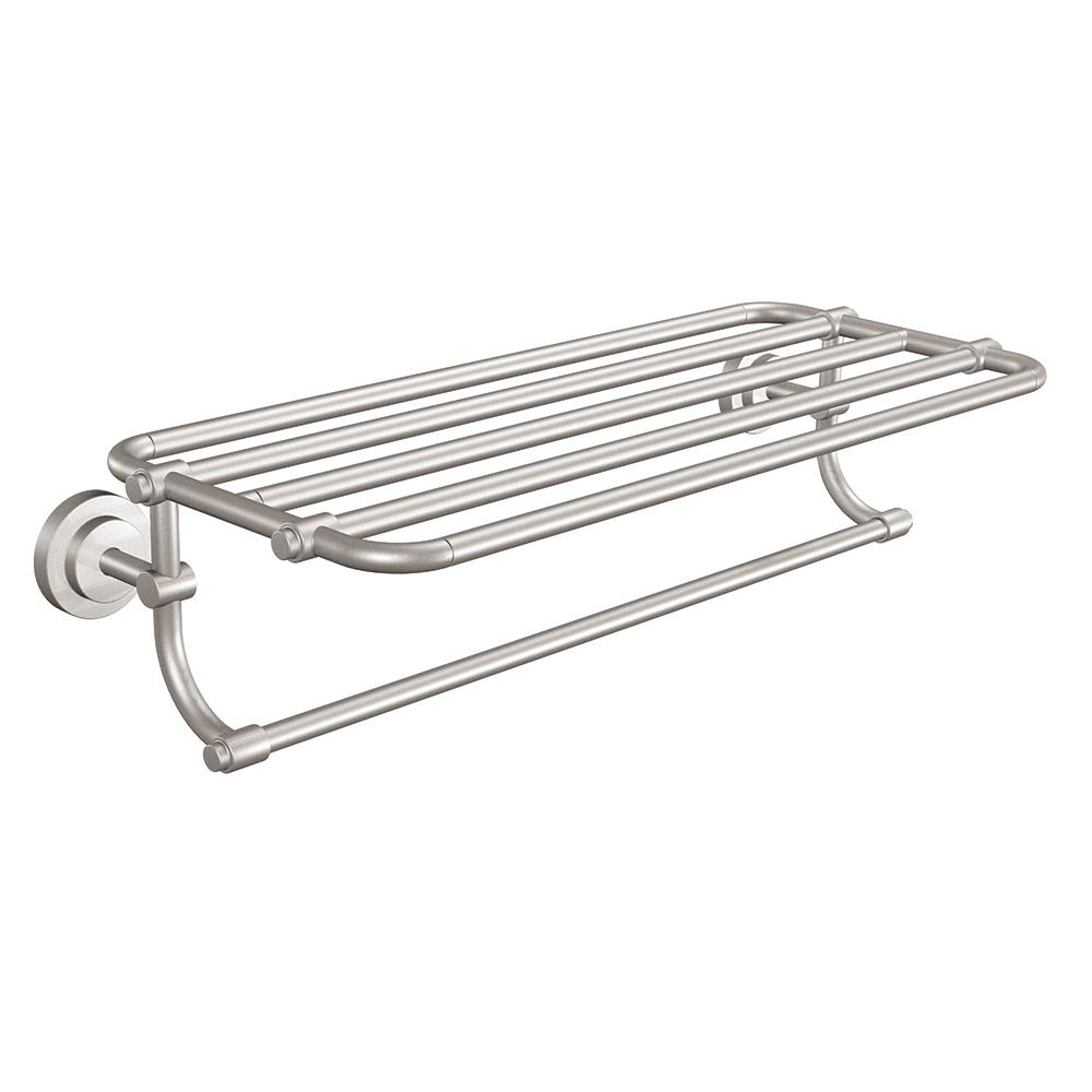 prodigious Brushed Nickel Bathroom Shelving Unit Part - 3: Moen Iso Bathroom Towel Shelf