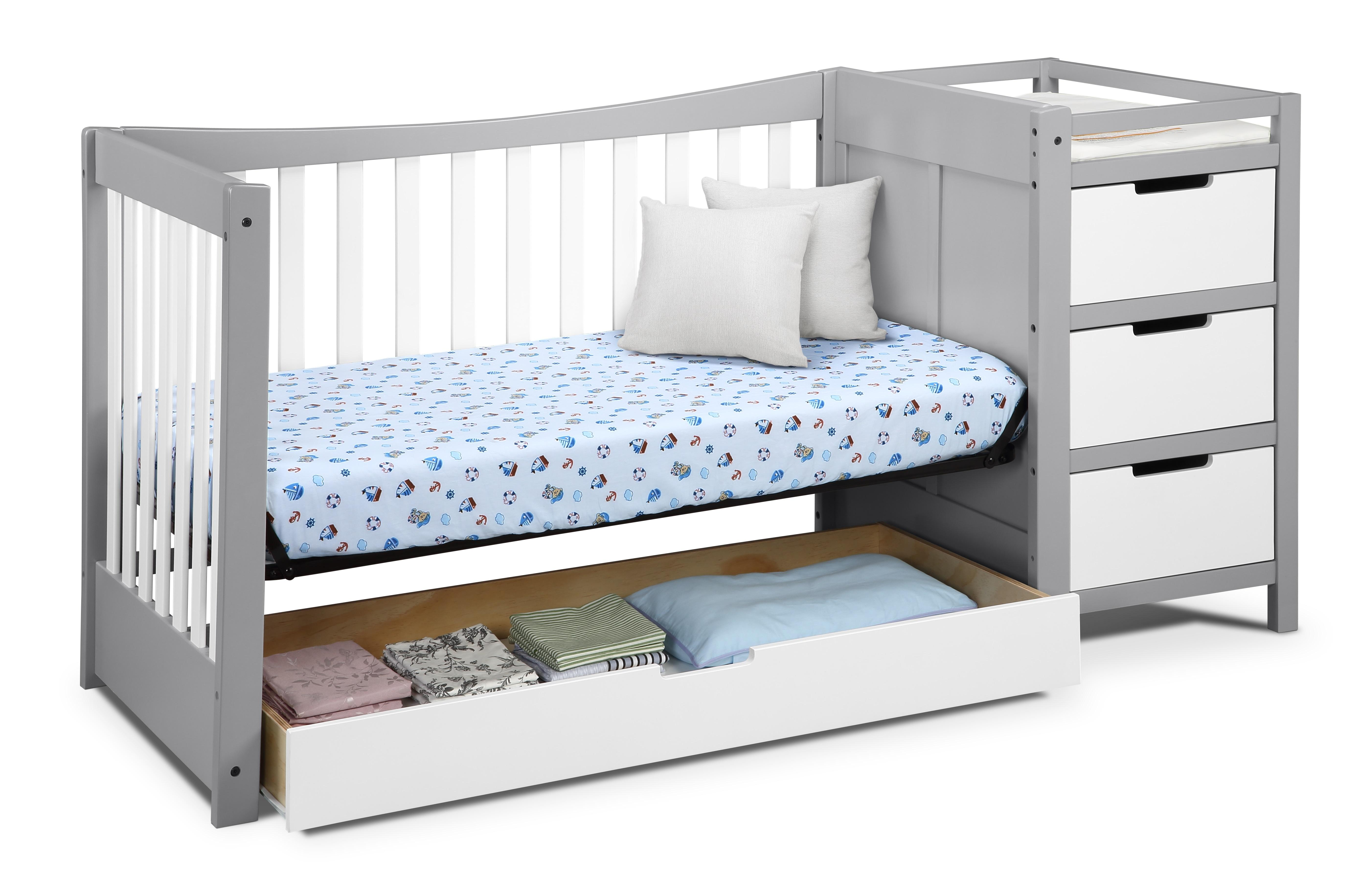Graco Remi 4 in 1 Convertible Crib and Changer Pebble GrayWhite