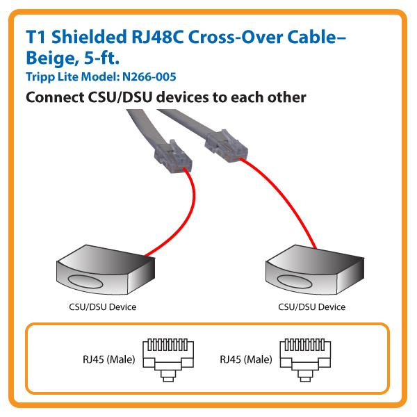 amazon com tripp lite t1 shielded rj48c cross over cable (rj45 m m t1 circuit rj 48 wiring for t1 #27