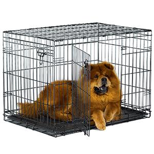 """36"""" New World Double Door Crate with Dog"""