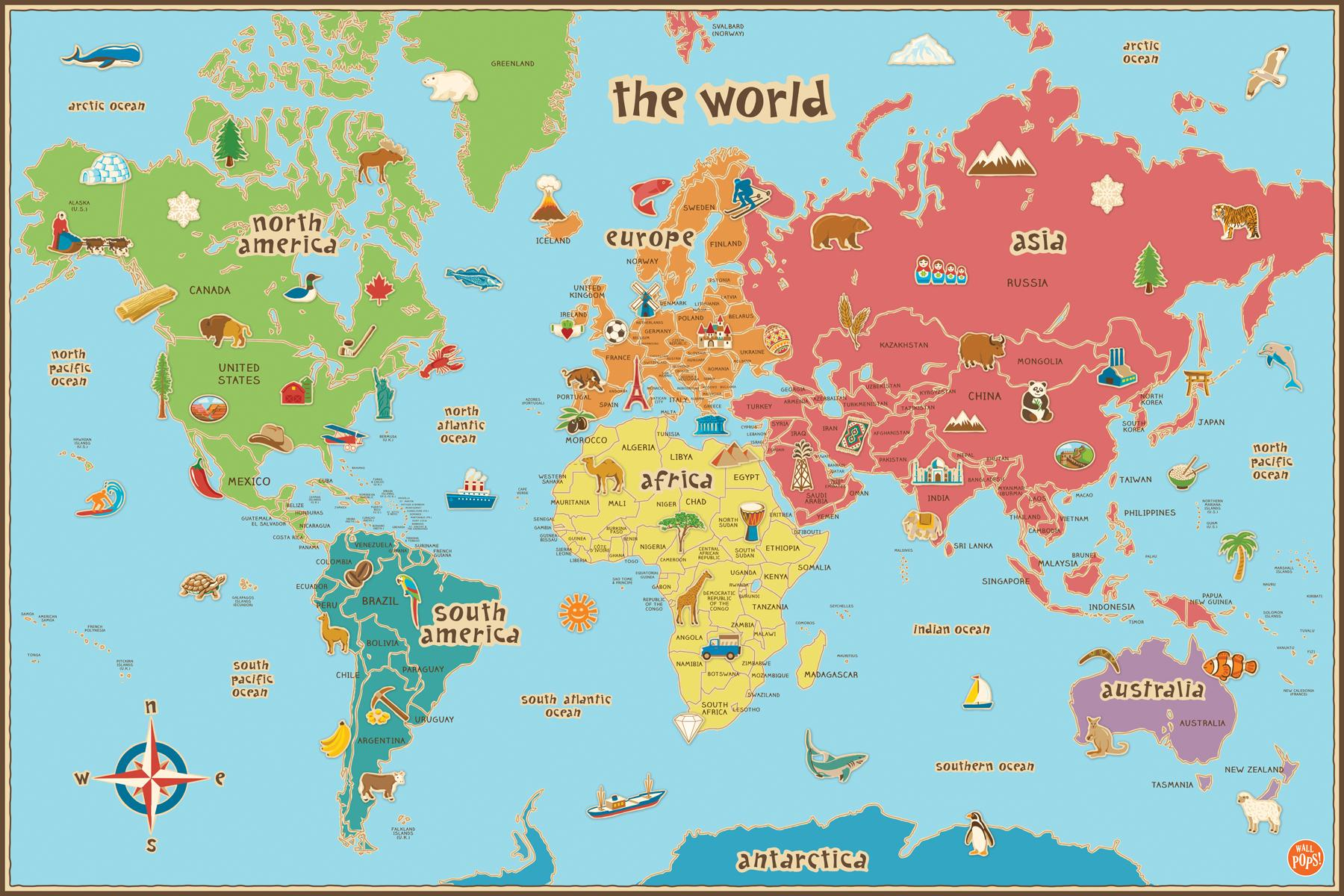 World Map For Kids Wall Pops WPE0624 Kids World Dry Erase Map Decal Wall Decals
