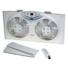 White /& Vornado 630 Mid-Size Whole Room Air Circulator Fan Bionaire Window Fan with Twin 8.5-Inch Reversible Airflow Blades and Remote Control