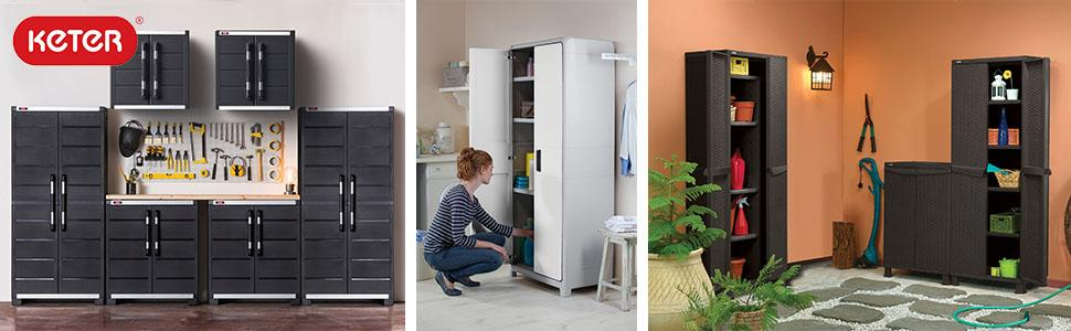 Home Storage and Organization & Amazon.com: Keter Space Winner Tall Metro Storage Utility Cabinet ...