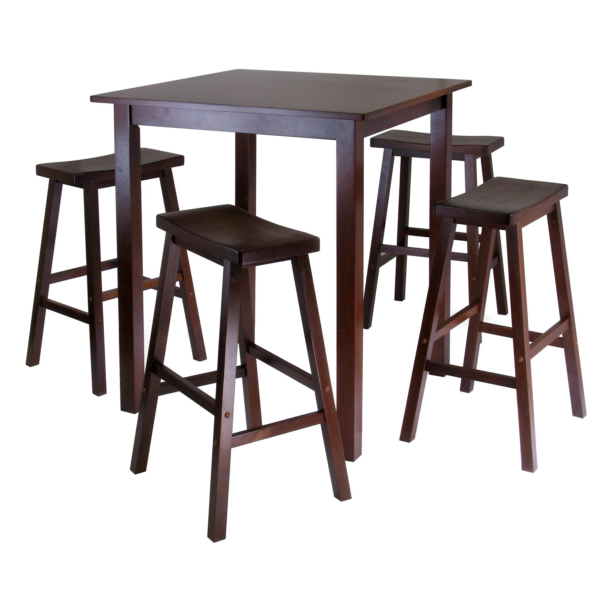 Winsome Wood Parkland 5-Piece Square High/Pub Table Set in Antique ...
