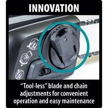 tool-less, blade, chain, adjustments, maintenance