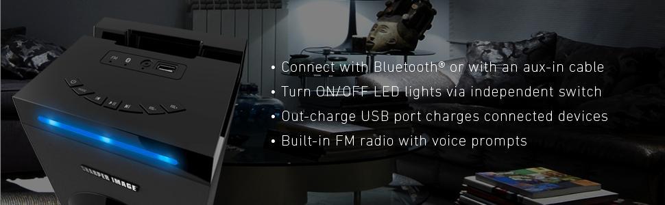 Sharper Image Sbt1001wh Wireless Tower Speaker With Blue Led Lights