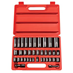 TEKTON 4865 Juego de llaves de vaso de impacto profundo de 1//2 de pulgada 3//8 a 1 in de 6 puntos de cromo-vanadio 11 piezas
