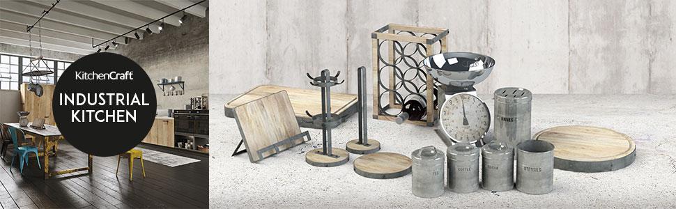 Wooden Cookbook Stand /& Tablet Holder, Kitchencraft Industrial Kitchen Metal
