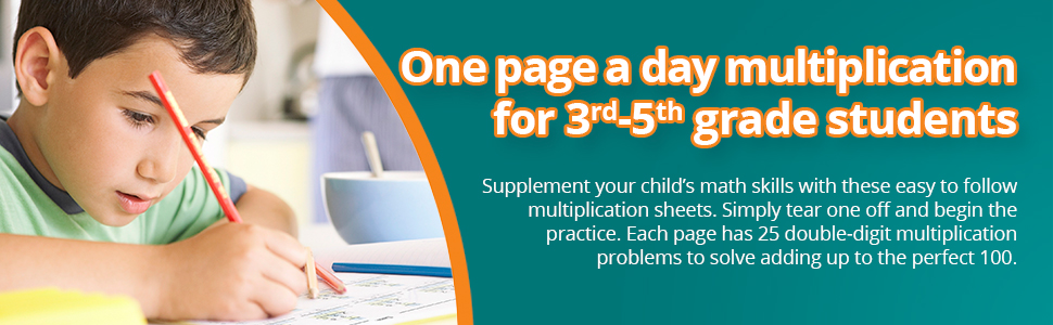 . Each page has 25 double-digit multiplication problems to solve adding up to the perfect 100.