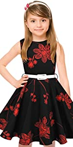 red bouquet vintage girls dress