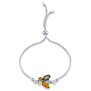 Peora Genuine Multicolor Baltic Amber Butterfly Bracelet for Women in Sterling Silver, Adjustable