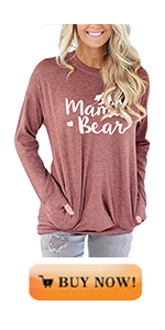 MODARANI mama bear pocket shirts for women long sleeve casual tunic tops
