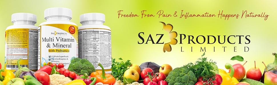 Saz Whole Food Multivitamin and Mineral with Probiotics vitamin c 500mg tablets multivitamin stress