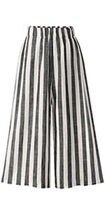 Tanming Women's Elastic Wide Leg Cotton Linen Stripe Cropped Pants