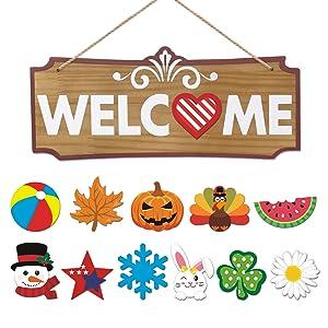 Interchangeable Welcome Sign Seasonal Festival Welcome Front Door Decor