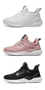 Youecci Femmes Baskets Running Fitness Course Basses Athl/étique Marche Gym Filets Chaussures Respirant Maille /À Lacets Leger Sport Run Baskets Blanc Noir Rose 35-44 EU