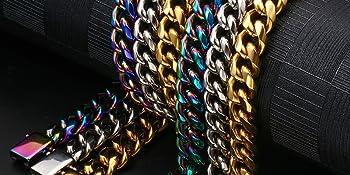 Rainbow Cuban Link Bracelets for Men Women