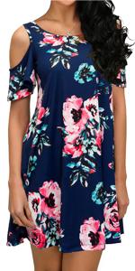 Cold Shoulder Floral Print Dresses