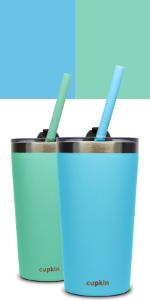 blue green stainless steel kids cups older kids adults drinkware