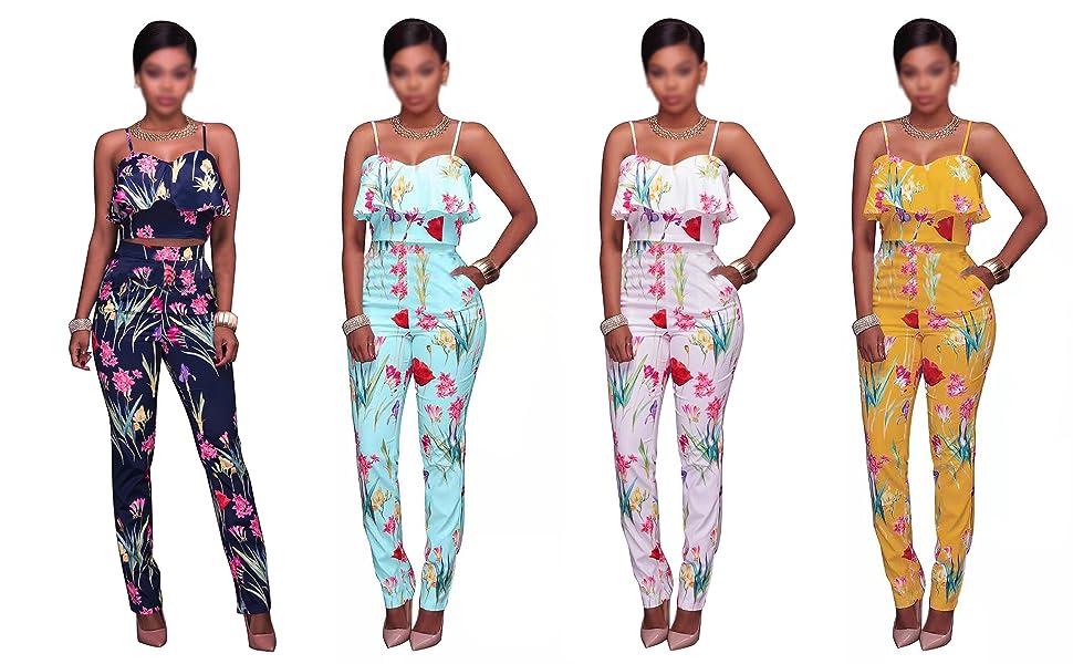 Women 2 Piece Outfits Sleeveless Floral Print Crop Top Pants Set Casual Jumpsuit