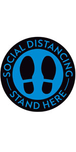 """Social Distance Floor Stickers Stand Here - 8"""" Round - Blue/Black"""