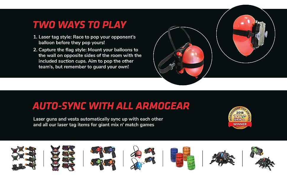 ArmoGear Balloon Battle laser tag with balloon vests laser tag gun & vest 2 pack laser tag blaster