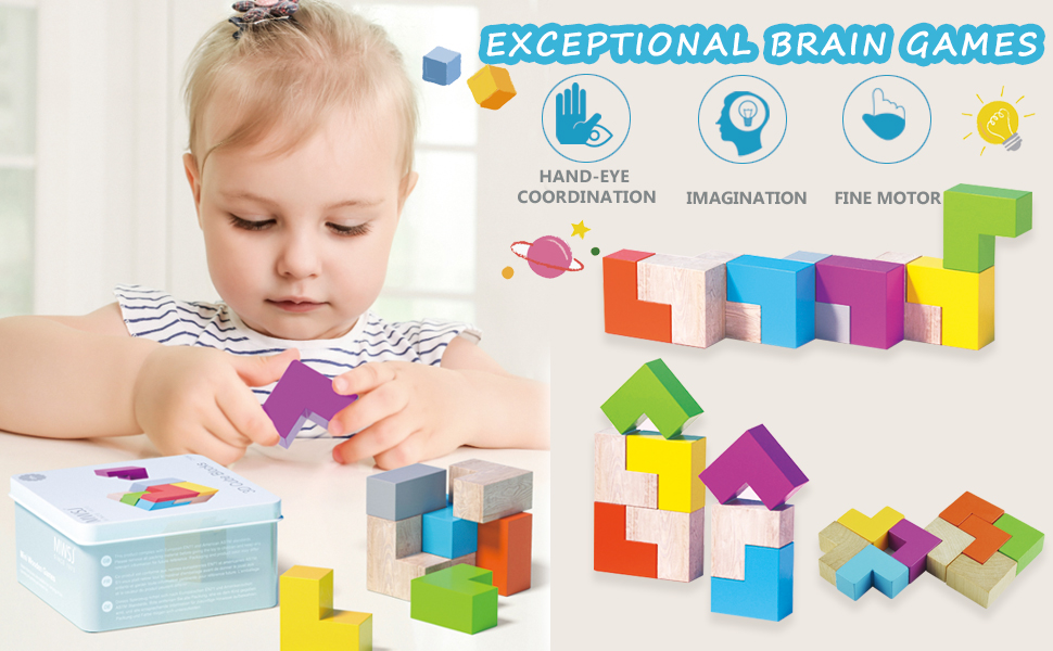 Wooden Puzzle Frog Fox Block Pyramid Educational Toy Eco Toy Preschool Learning Perfect Gift for Child Kid