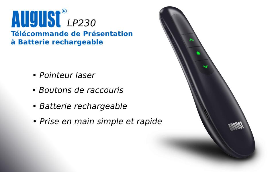 Télécommande powerpoint avec pointeur laser rouge et batterie rechargeable pour présentation diapo