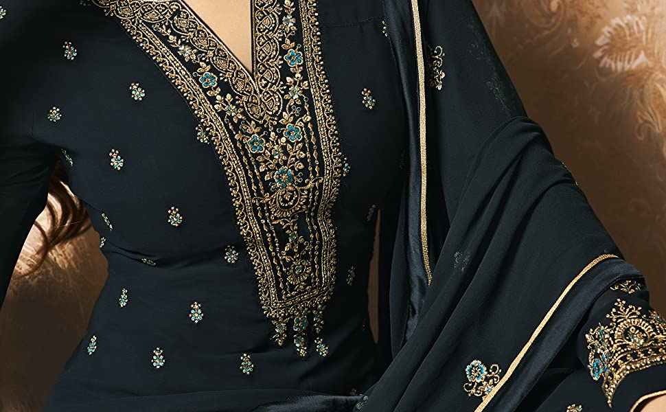 blue georgette salwar suit sets party wear for women
