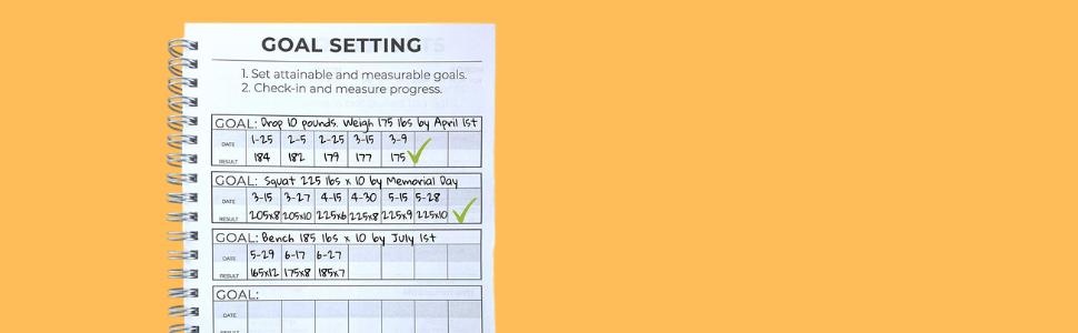fitness journal goal setting journal notebook fitness notebook