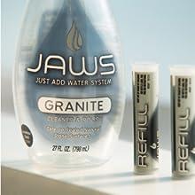jaws granite cleaner, natural stone clean, marble cleaner, marble polish, granite polish, just add
