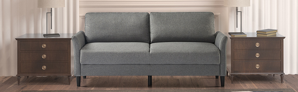 Zinus Classic Sofa 3 Seater Loveseat Fabric Chair Lounge Couch in Soft Grey