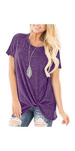knot top summer tshirt for women twist tunic o neck t shirt for women cute top
