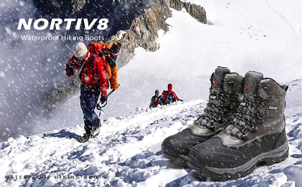 NORTIV 8 Mens Waterproof Winter Hiking Snow Boots