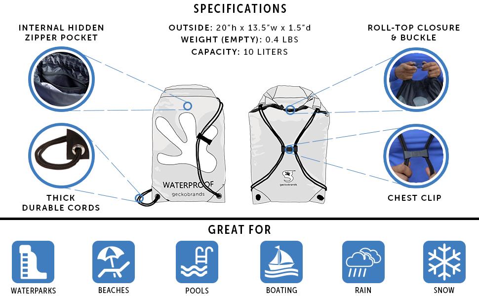 specifications, drawstring bag, back, lightweight bag, lightweight drawstring bag, geckobrands bag