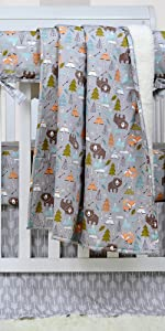 Fox Bear Woodland Crib Bedding Sets