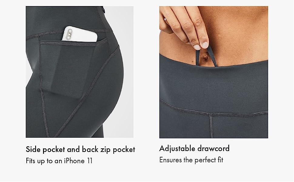 side back pocket zip phone storage card keys essential adjustable high waist drawcord waistband