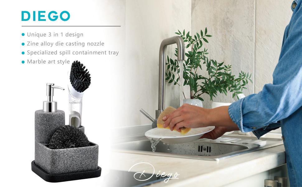 zccz Soap Dispenser with Sponge Holder and Brush Holder