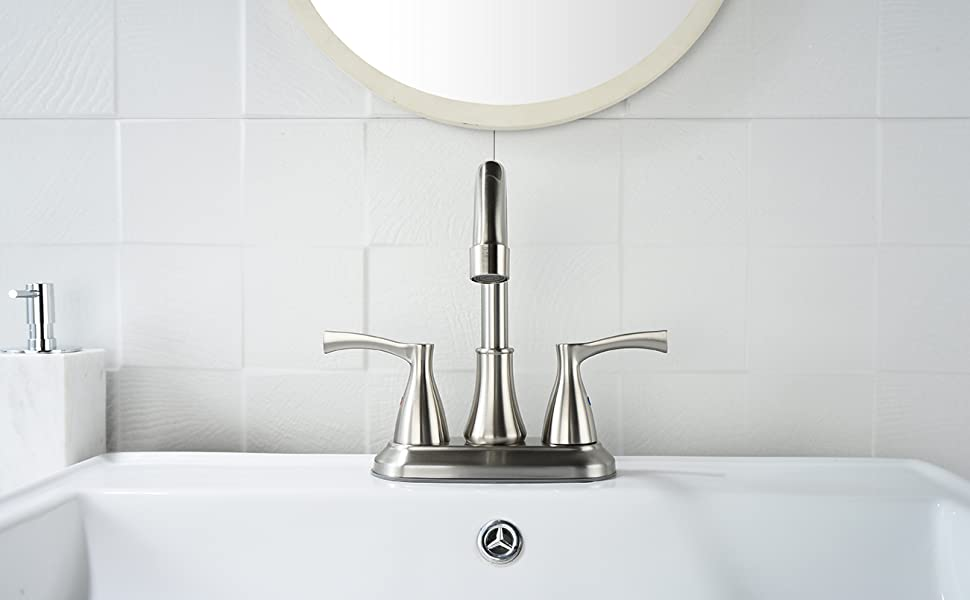 Two Handle High Arc 4 Holes 8 Inch Centerset Stainless Steel Kitchen Sink Faucet With draw-out sprayer and water supply hose Bellecto Brushed Nickel Kitchen Faucet with Side Sprayer