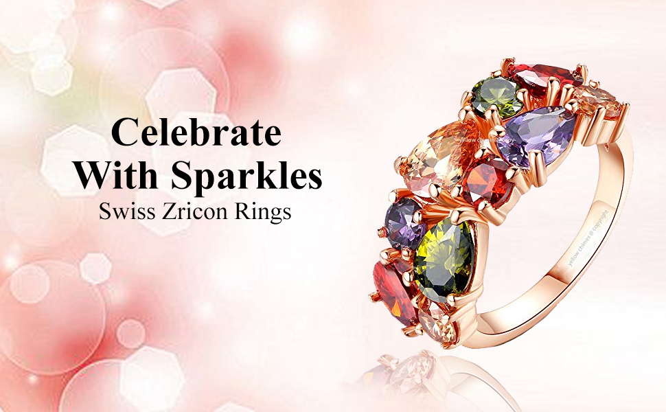 Multicolor Color Swiss Zircon Floral Rings for women girls crystal rose gold rings