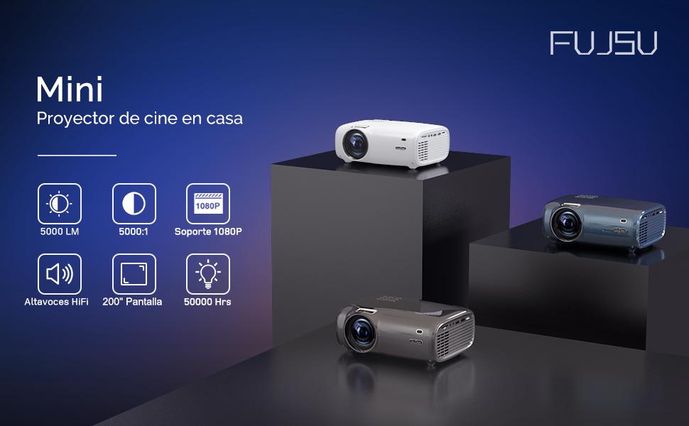 Proyector, 5000 Lúmenes Proyector Full HD Soporta 1920 x 1080P Proyector Cine en Casa Sonido Hi-Fi Proyector LED Bajo Ruido Video Fluido PS4 HDMI USB VGA AV: Amazon.es: Electrónica