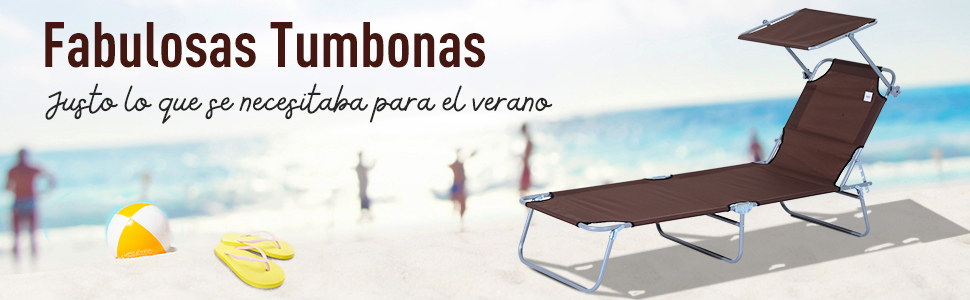 Outsunny Tumbona Hamaca Plegable con Parasol Inclinable Playa ...