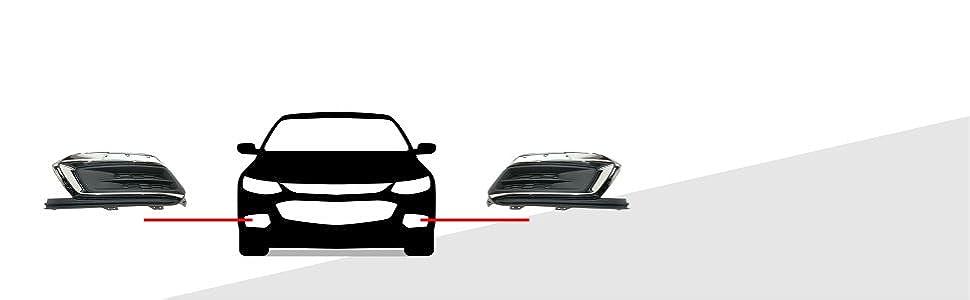 1 Pair Bumper Fog Light Cover Bezel Trim Fit for Chevrolet Cruze 2016-2018