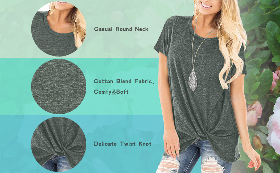 onlypuff Knotted Tops for Women Short Sleeve Twist Front Shirt Casual Tunics Solid Round Neck