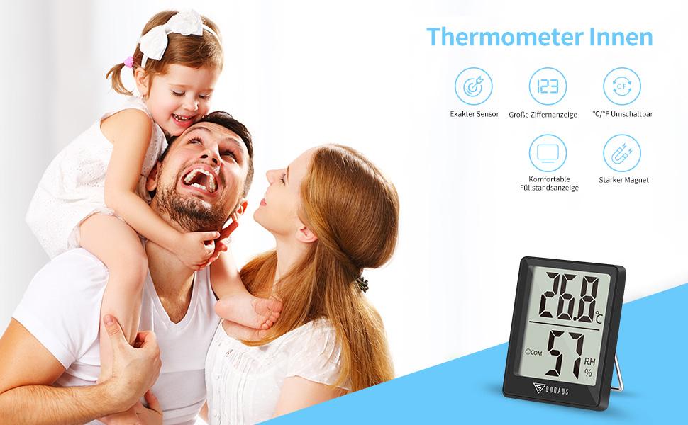 Doqaus Thermometer Innen Digitales Thermo Hygrometer Innen Luftfeuchtigkeitsmessgerät Hydrometer Feuchtigkeit Mit Hohen Genauigkeit Für Raumklimakontrolle Babyraum Wohnzimmer Büro Schwarz Garten