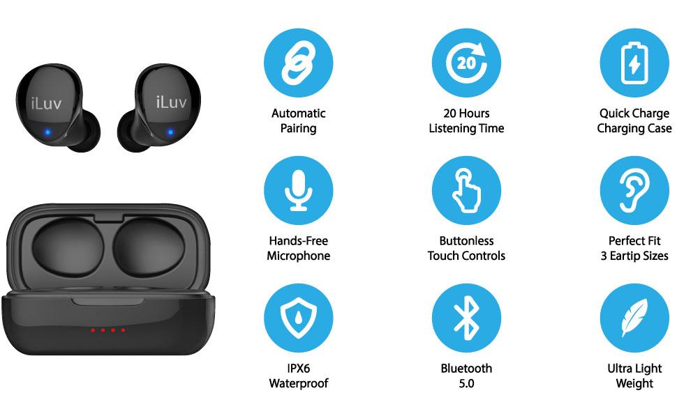true wireless cordless bluetooth 5.0 earbud earphone headphone
