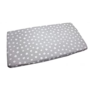 Drops Stars White//Gray 90 x 40 cm TupTam Baby Bed Crib Cot Fitted Sheets with Printed Designs