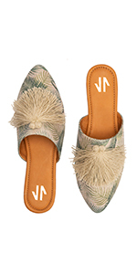 Pointy Toe Flat Mule Shoes for Women Zapatos