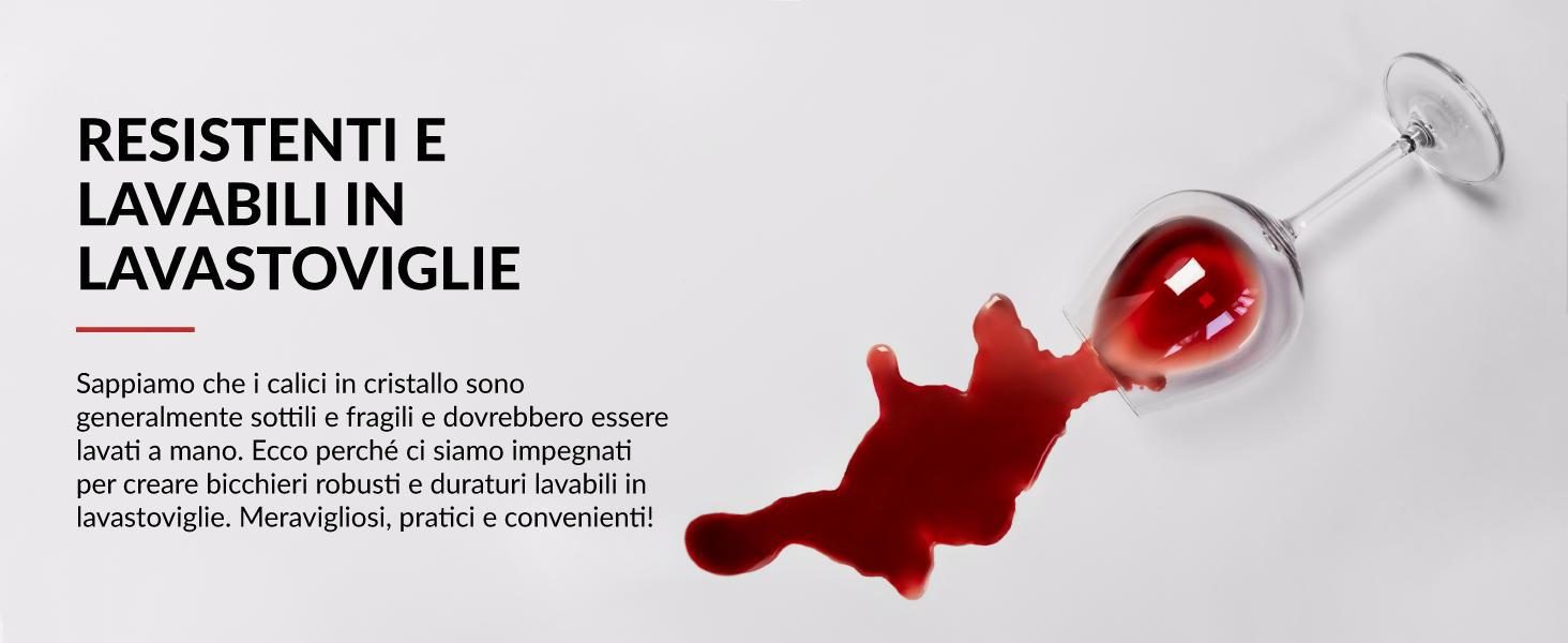bicchiere da vino rosso cristallo infrangibile lavabile in lavastoviglie